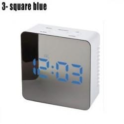 3 négyzet kék - LED ébresztőóra tükör lámpaóra Éjjeli fény digitális hőmérő asztali óra