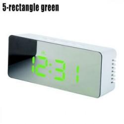 5 négyszögletes zöld - LED ébresztőóra tükör lámpaóra Éjjeli fény digitális hőmérő asztali óra