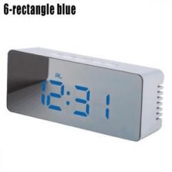 6-téglalap alakú kék - LED ébresztőóra tükör lámpaóra Éjjeli fény digitális hőmérő asztali óra