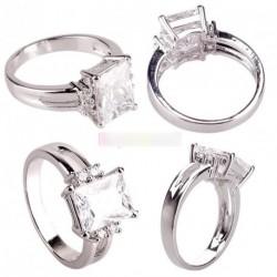 Divatos ezüst fehér Crystal gyűrű ajándék 1db