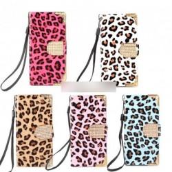 Leopard bőr védő Flip tok iPhone 5Gn1db