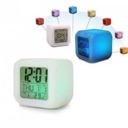 7 LED színváltó Digitális hőmérő ébresztős óra