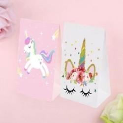 2 / 4db Esküvői ellátás Candy Bag Ajándék zseb papír Rainbow Decor Unicorn Bags