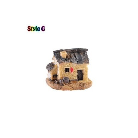 G stílus - Mini Cottage Tájképi Gyanta Dollhous Decor Stone House Tündér Kert DIY Crafts