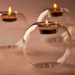 1db Klasszikus üveg gyertyatartó lakodalom dekoráció