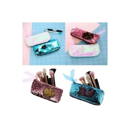Csillogó kefe táska Mermaid erszényes kozmetikai táska Sequins Érme táska ceruza tok